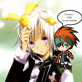 Allen has Chibi on Shoulder